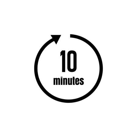 Clock, timer (time passage) icon/10 minutes 矢量图像