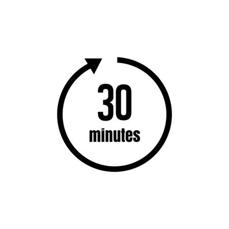 Clock, timer (time passage) icon/30 minutes 矢量图像