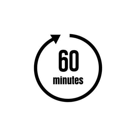 Clock, timer (time passage) icon/60 minutes Stock Illustratie