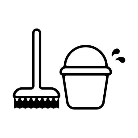 brush/broom and bucket icon (cleaning/sweep)