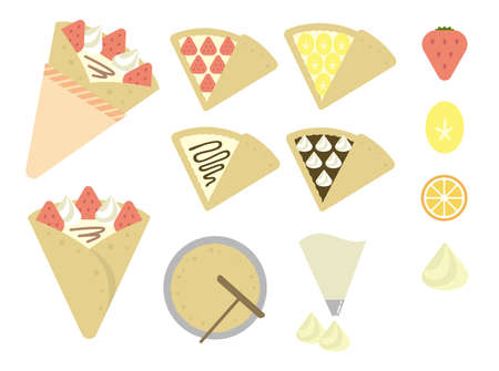 crepe color illustration set 矢量图像