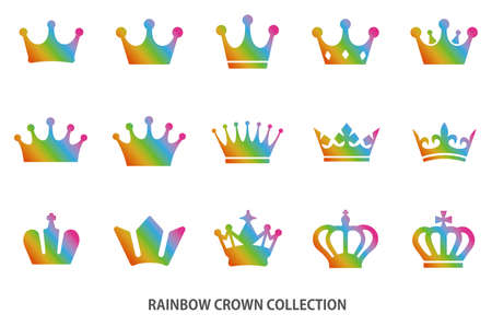 Rainbow crown icon collection