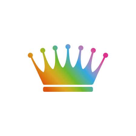 Rainbow crown icon Vectores
