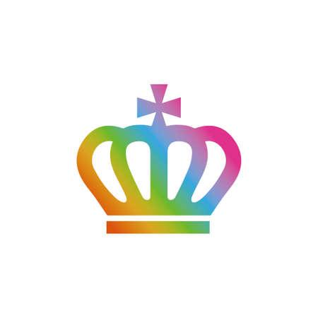 Rainbow crown icon Illustration