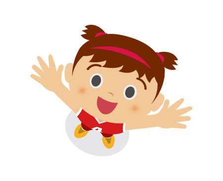 Ein Mädchen, das in den Himmel schaut (Basketballuniform tragend). Karikaturillustration Vektorgrafik