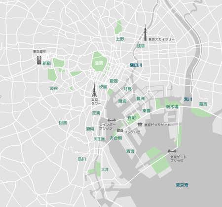 Straßenkarte der Bucht von Tokio (mit Ortsnamen, Sehenswürdigkeiten) / Japanisch