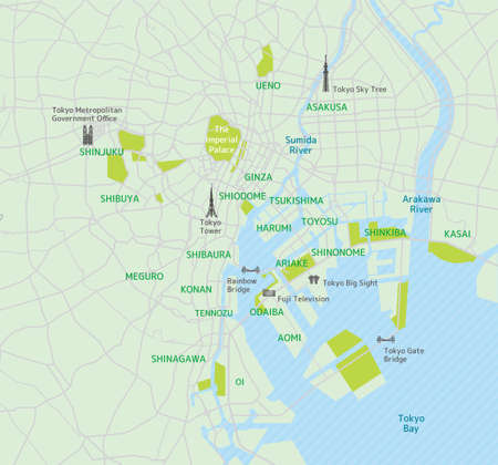 Tokyo bay area road map (with place names, sightseeing spots) Иллюстрация
