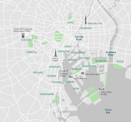 Tokyo bay area road map (with place names, sightseeing spots) Illustration