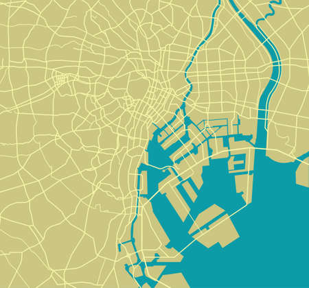 Straßenkarte der Bucht von Tokio Vektorgrafik