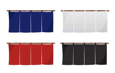 Japanese store curtain illustration set