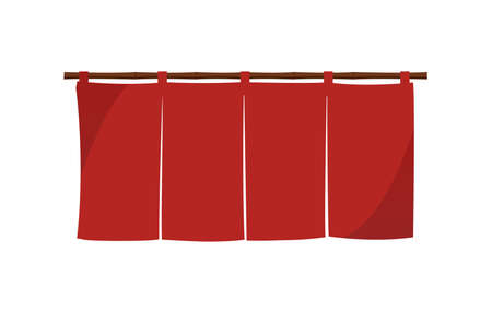 Japanese store curtain illustration (red)