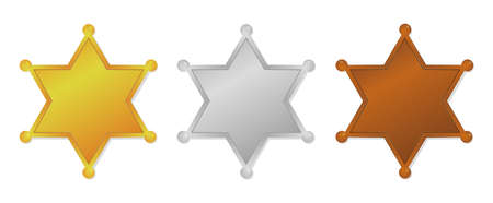 Ranking medal icon set (sheriff badge). Copy space for text.