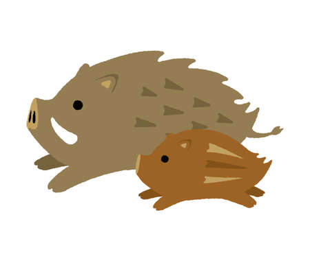 cartoon wild boar illustration (parent and child)