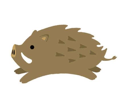 cartoon wild boar illustration Stock Illustratie