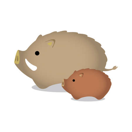 New years wild boar ornament illustration (parent and child).