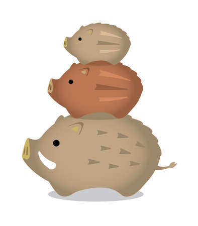 New years wild boar ornament illustration (parent and children) and piggyback 向量圖像