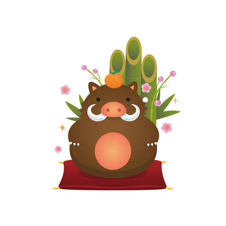 New years wild boar ornament illustration and with new years decoration