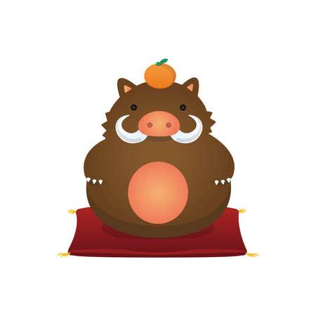 New years wild boar ornament illustration