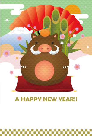 2019 New years greeting card wild boar ornament.no text.