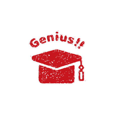 rubber stamp icon (for teachers using at school) and Genius!  イラスト・ベクター素材