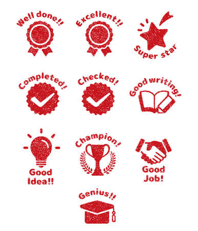 rubber stamp icon set (for teachers using at school) Japanese version  イラスト・ベクター素材