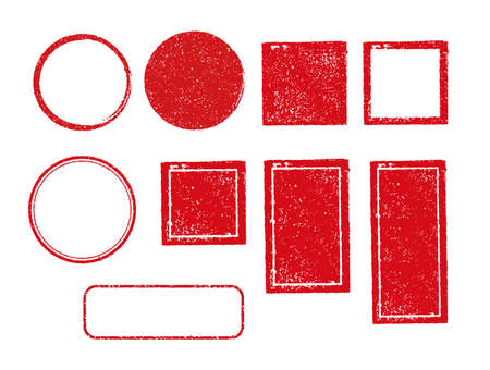 rubber stamp frame set (square, circle, rectangle, etc.)  イラスト・ベクター素材