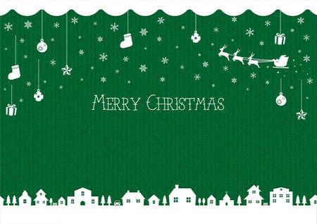 Christmas background image (knit pattern) / green 일러스트