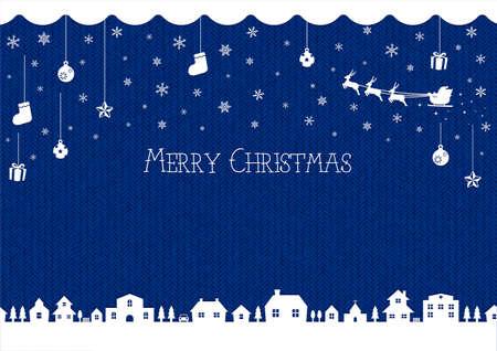 Christmas background image (knit pattern)  blue Illustration