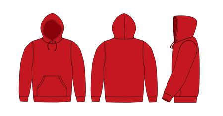 Illustrazione di felpa con cappuccio (felpa con cappuccio) / rossa Vettoriali