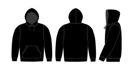 Illustratie van hoodie (sweatshirt met capuchon) / zwart