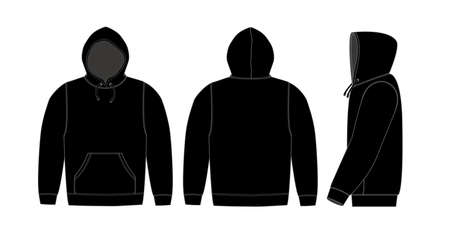 Illustration of hoodie (hooded sweatshirt)  black