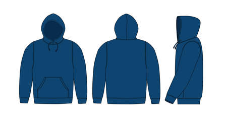 Illustration of hoodie (hooded sweatshirt) / navy blue