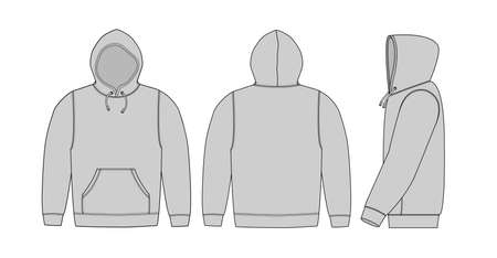 Illustration of hoodie (hooded sweatshirt) / gray