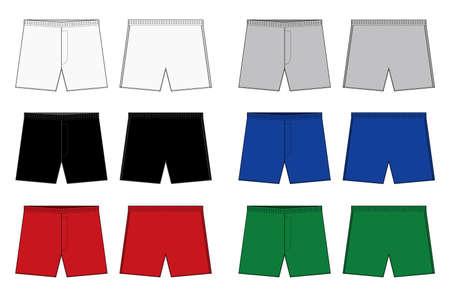 Men's boxers (boxer shorts, trunks) template illustration set