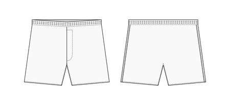 Ilustración de plantilla de boxeadores para hombres (calzoncillos, calzoncillos) / blanco Ilustración de vector