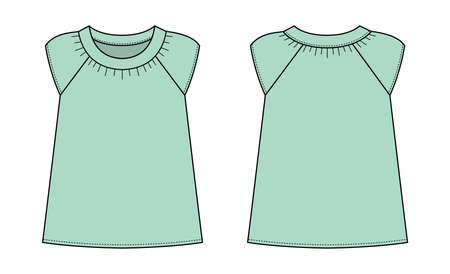 women's short sleeve shirt (puff sleeve shirt) template illustration / mint green