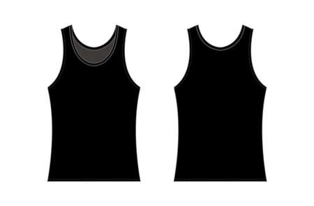 women's tank top template illustration / black 일러스트