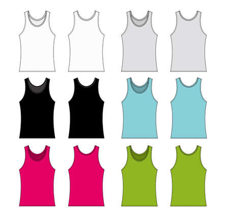 women's tank top template illustration set