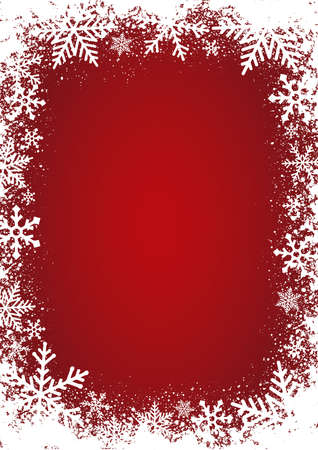 Winter image background (snow crystal) / red