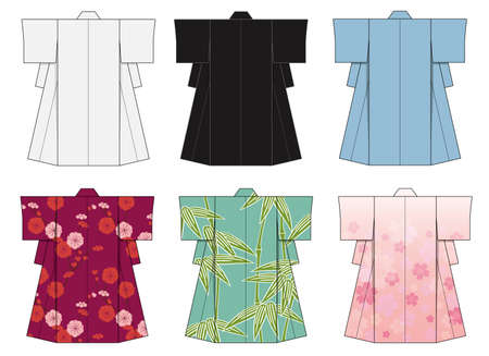 Japanese kimono template illustration set
