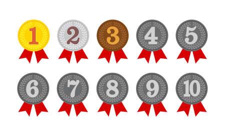 insieme dell'illustrazione dell'icona della medaglia di classifica. dal 1° al 10° posto.