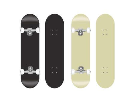 skateboard vector template illustration set (blackwhite)