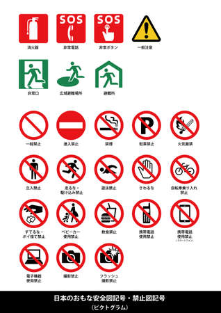 The major public safety signs and prohibition signs for Japan (pictogram) NEX