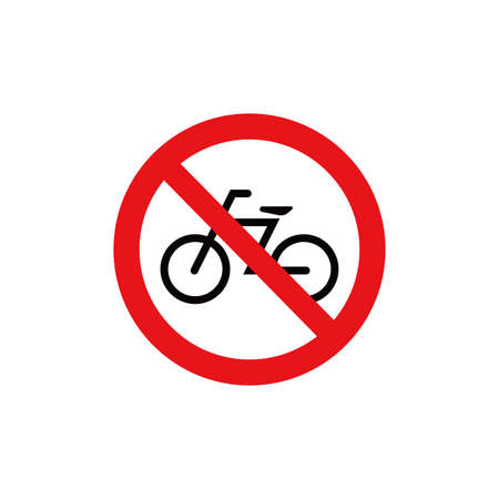 Prohibition sign (pictogram) / No bicycles Illustration