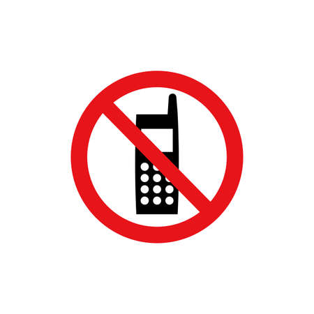 Prohibition sign (pictogram) and Do not use mobile phones