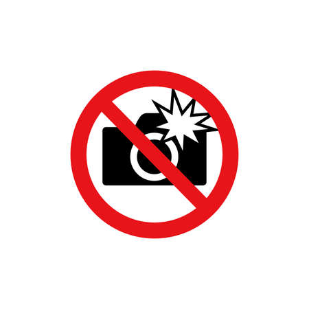 Prohibition sign (pictogram) and Do not use flash photographs Ilustración de vector