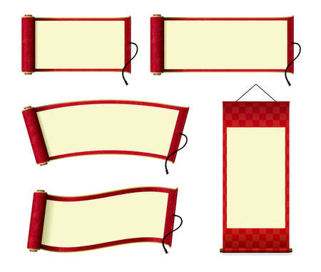 Japanese scroll paper  hanging scroll illustration set (red)