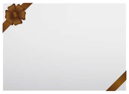Gift card frame illustration (corner ribbon / brown)
