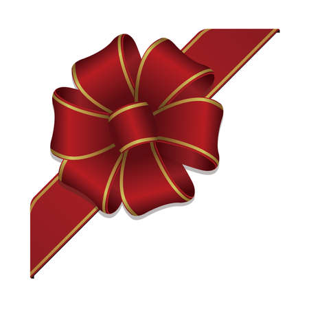Flower loop hair bow illustration (corner ribbon) / red & gold
