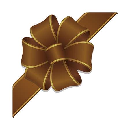 Flower loop hair bow illustration (corner ribbon) / bronze & gold